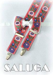 Doplnky - Folklórny pánsky biely červený motýlik a traky - folkový - ľudový - 8061072_