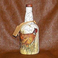 Iné - Ozdobná fľaša pre lovcov bažantov - 8059680_