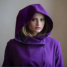Kabáty - Fialový kabát s kapucí - 8061798_