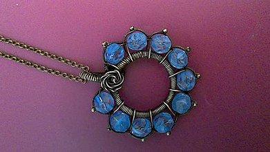 Náhrdelníky - prívesok modrý kvet - 8061254_