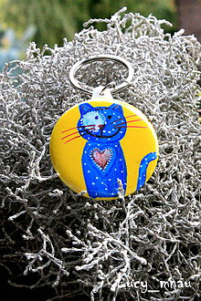 Kľúčenky - Kľúčenka mačička tmavo-modrá :) - 8061055_