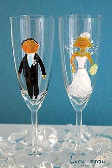 Darčeky pre svadobčanov - Svadobné poháre ♥ženích a nevesta ♥ - 8061229_