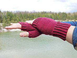 Rukavice - jednoduché 100% Merino rukavičky bez prstov - 8060989_