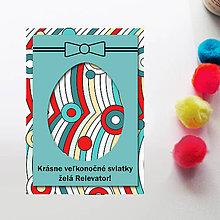 Papiernictvo - Veľkonočné vajíčko - personalizovaná pohľadnica (vlny a bubliny) - 8060167_