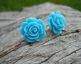 Náušnice - Náušnice Růžičky Modré napichovačky - 8068026_