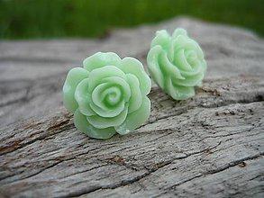 Náušnice - Náušnice Růžičky Zelenkavé napichovačky - 8068111_