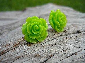 Náušnice - Náušnice Růžičky svieže Zelené napichovačky - 8068147_