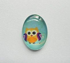 Komponenty - Kabošon - 18x25 mm - sklenený - sova, owl, sovička - 8068757_