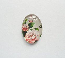 Komponenty - Kabošon - 18x25 mm - sklenený - ruža, roses, ružička, kvetinka - 8068984_