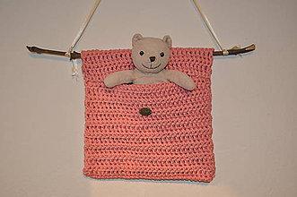 Úžitkový textil - Závesné vrecúško lososovej farby - 8067363_