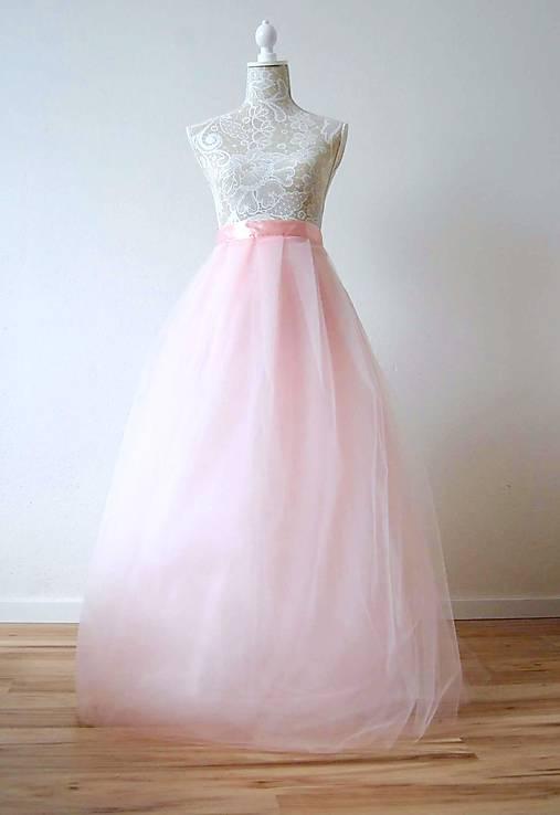 Sukne - Dlhá tylová sukňa svetlo ružová - 8067344_