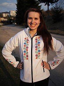 Kabáty - Softshellová bunda folk farebné kvety - 8067232_