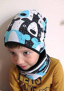 Detské čiapky - čiapka z biobavlny Tlupa medveďov (tyrkys) - 8069361_