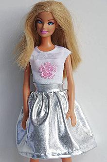 Hračky - Strieborná suknička pre Barbie - 8067983_