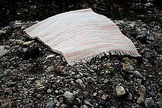 Úžitkový textil - biely koberec s ružovými pásikmi - 8066603_