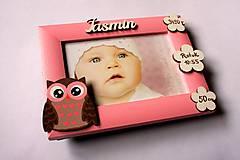 Detské doplnky - Fotorámik s údajmi o narodení - sovička - 8066486_