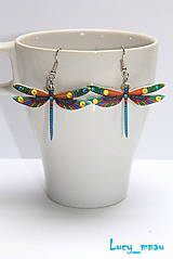 Náušnice - Náušničky vážky-farebné :) - 8068462_