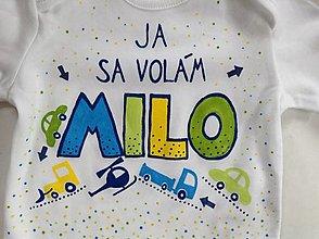 """Detské oblečenie - Originálne maľované body na zoznámenie ;)  (s nápisom """"Ja sa volám..."""" Dopravné) - 8068982_"""