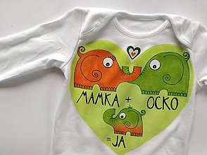 Detské oblečenie - Maľované sloníkové rodinné body s nápisom