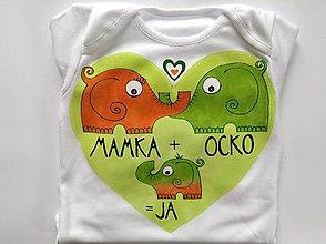 "Detské oblečenie - Maľované sloníkové rodinné body s nápisom ""mummy + daddy = me"" / ""mamka +ocko=ja"" (unisex verzia) - 8069044_"