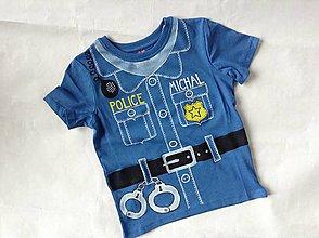 Detské oblečenie - Originálne maľované tričko pre malého policajta (s menom) - 8069124_