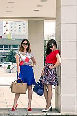 Sukne - Modrá sukňa s volánom - 8068824_
