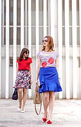 Sukne - Modrá sukňa s volánom - 8068825_