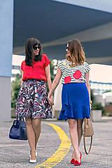 Sukne - Modrá sukňa s volánom - 8068826_