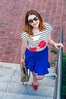 Sukne - Modrá sukňa s volánom - 8068827_