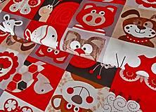 Textil - látka na pexeso červená - 8067374_
