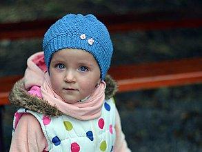 Detské čiapky - Pohodová s gombíkmi: modrá - 8069779_