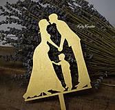 Dekorácie - zlatý zápich svadobný...na želanie - 8070040_