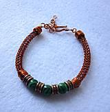 Náramky - Medený náramok s malachitovými korálkami - 8071915_