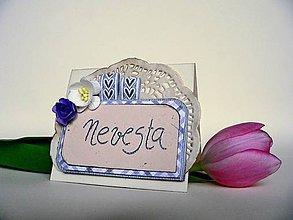 Papiernictvo - Svadobná menovka pre nevestu - 8071367_