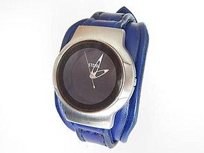 Náramky - Modrý kožený remienok na hodinky STORM - 8073322_