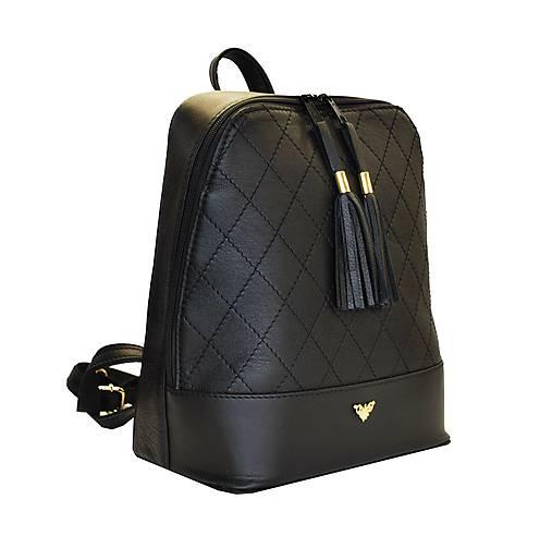 Štýlový dámsky kožený ruksak z prírodnej kože v čiernej farbe ... 22d0597175