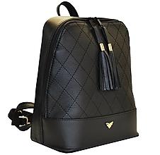 Batohy - Štýlový dámsky kožený ruksak z prírodnej kože v čiernej farbe - 8071940_