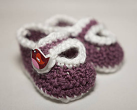 Topánočky - Háčkované papučky - 8072590_
