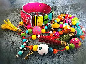 Sady šperkov - Ručne maľovaný set - náhrdelník+ náramok Cancun - 8070960_