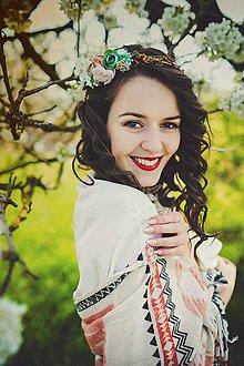 Ozdoby do vlasov - Kvetinový pestrofarebný venček \
