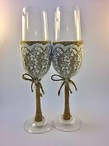 Nádoby - Svadobné poháre Natur - 8071865_