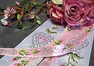 Ozdoby do vlasov - svadobná folklórna stuha úzka - ružový satén - 8077153_