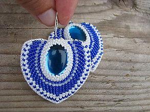 Náušnice - Blue/White heart...vyšívané - 8075305_