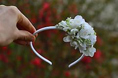Ozdoby do vlasov - Biele fialky a ruže - 8076409_