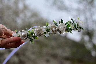Ozdoby do vlasov - Biele ružičky - 8076419_