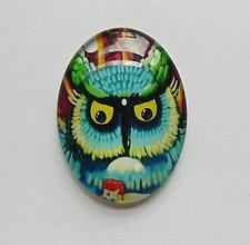 Komponenty - Kabošon - 30x40 mm - sklenený - sova, owl, veľké oči - 8076164_