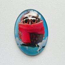 Komponenty - Kabošon - 30x40 mm - sklenený - sova, owl, zima, šál, sneh - 8076171_