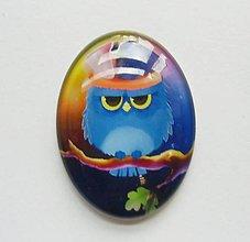 Komponenty - Kabošon - 30x40 mm - sklenený - sova, owl, konár, klobúk, list - 8076179_