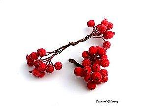 Galantéria - Ozdobné bobuľky s mrazivým efektom - červené - 8077569_