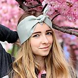 Ozdoby do vlasov - Šatka na hlavu ľanová zelenkavá / čelenka do vlasov - 8073902_